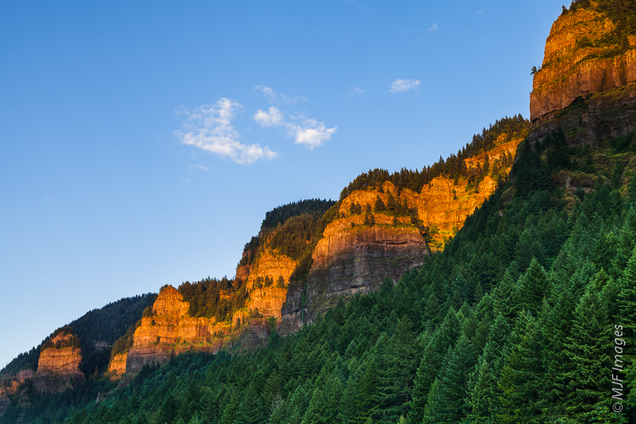 The walls of Oregon's Columbia River Gorge at day's last light.