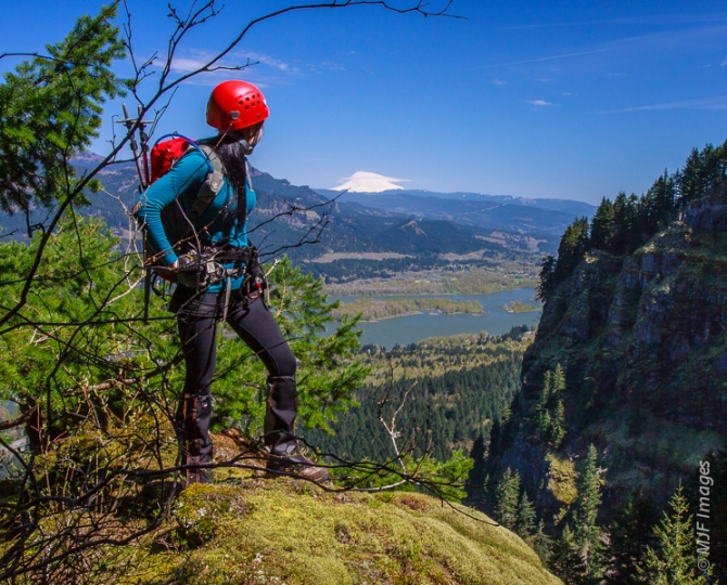 Admiring the view while on a climb in the Cascades.  That is Mount Adams in Washington.