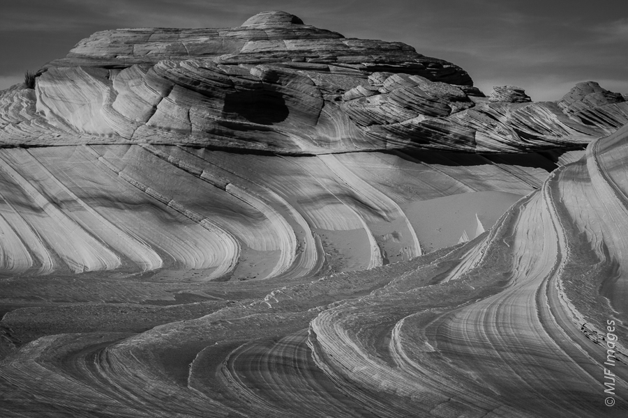 This flowing rock in southern Utah's Coyote Buttes area was originally formed into enormous dunes, now solidified into rock.