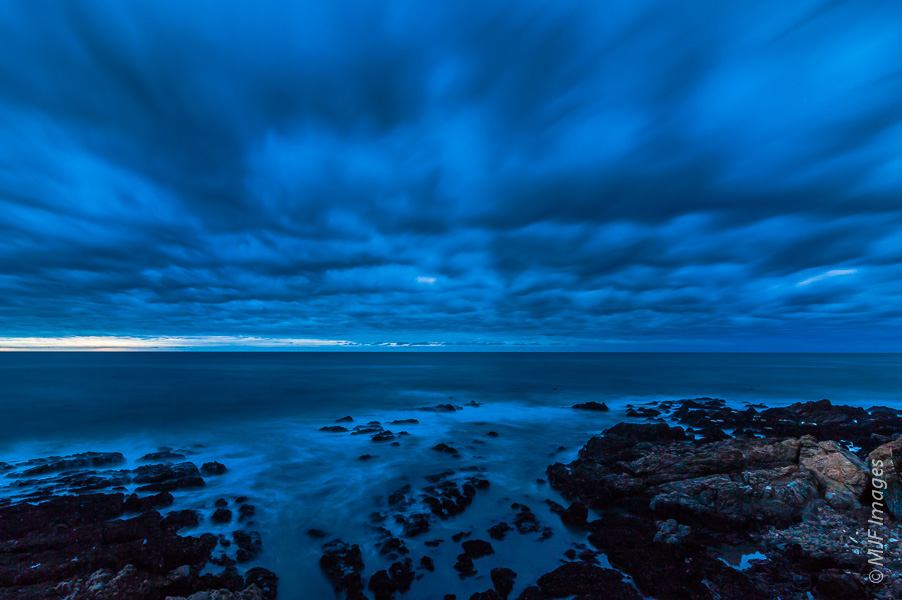 Blue Hour on the California Coast. Clouds from an approaching winter storm lend a moody look.