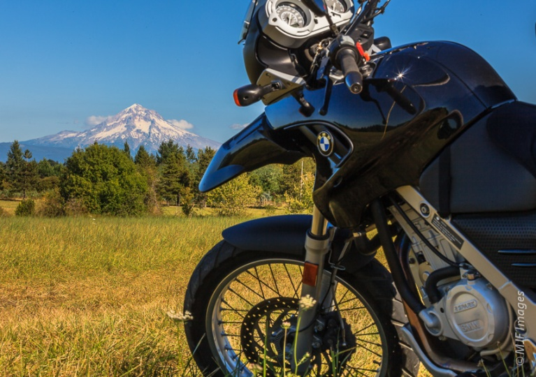 The sun is out and so is Mount Hood on a ride through the Clackamas River Valley near Portland.