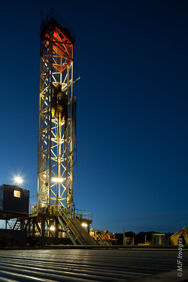Blue hour can provide a soft edge to hard industrial subjects, such as this gas drilling rig.