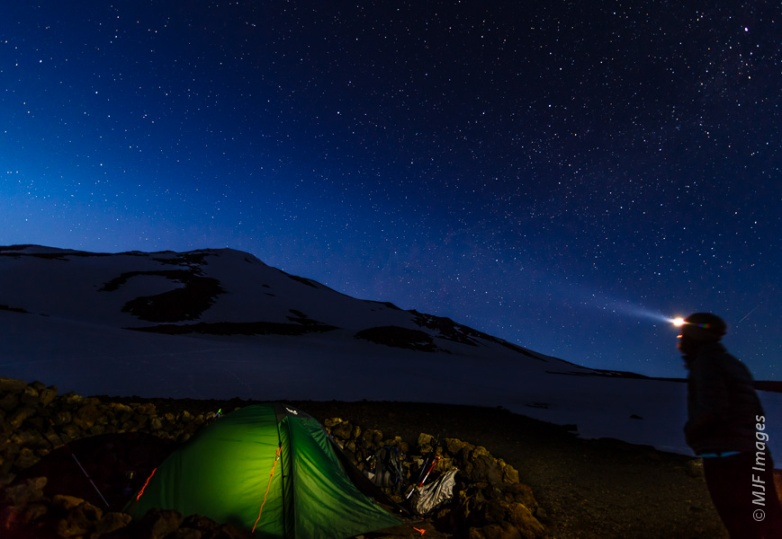 Night falls on the eve of summit day at the Lunch Counter on Mount Adams, Washington.