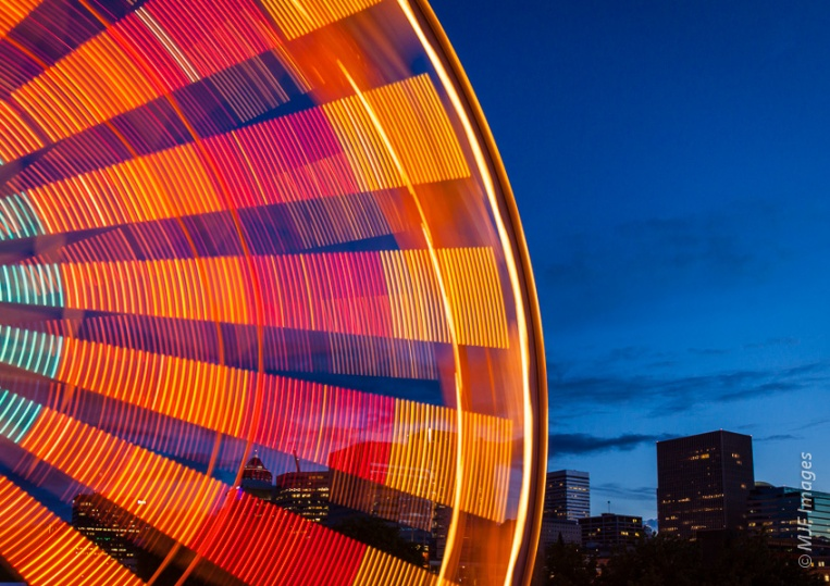 Blue hour is a great time for a visit to a fair, and a great time to experiment with long exposures.