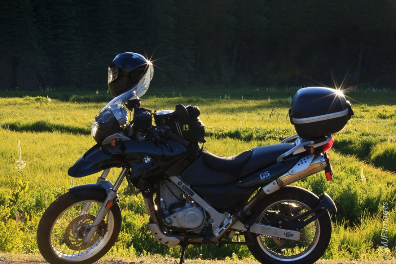 A pause at a sunny meadow while on a short tour in the Oregon Cascade Range.