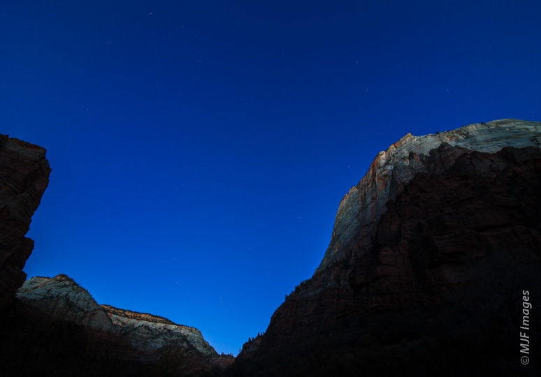 Blue hour from within Zion Canyon in Utah.