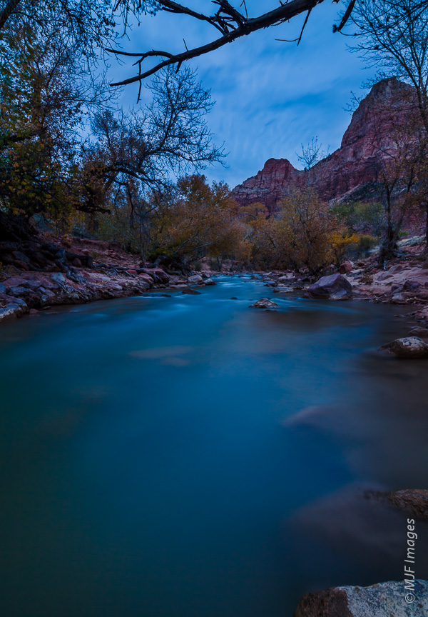 The Virgin River flowing through Zion Canyon, Utah, makes a great blue-hour subject.