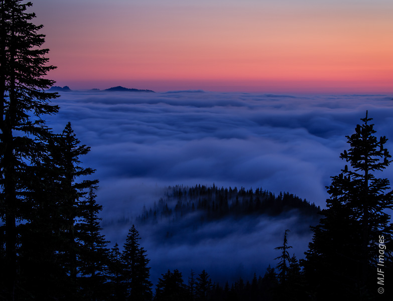 Fog fills the valleys beneath Mount Rainier as evening arrives.