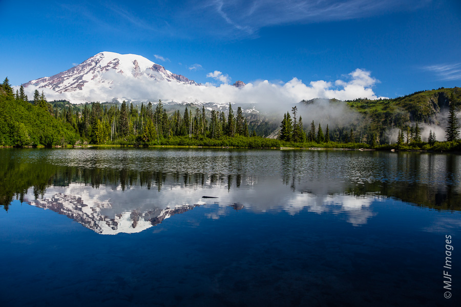Mount Rainier reflected in Bench Lake.