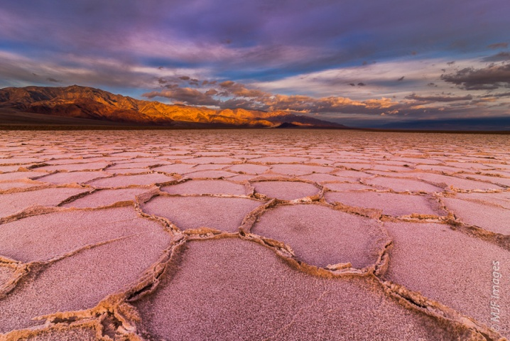 Cracked salt flats form repeating shapes in Death Valley, California at sunrise.