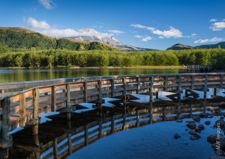 A nature trail at Mount St. Helens' Coldwater Lake uses an elevated boardwalk to give visitors a great view.  There is also a hiking trail along one lake shore.