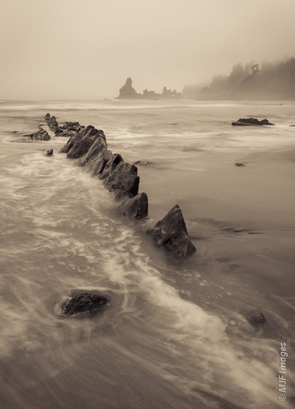 These rocks plus the waves form a strong diagonal leading line on the Olympic Coast in Washington.