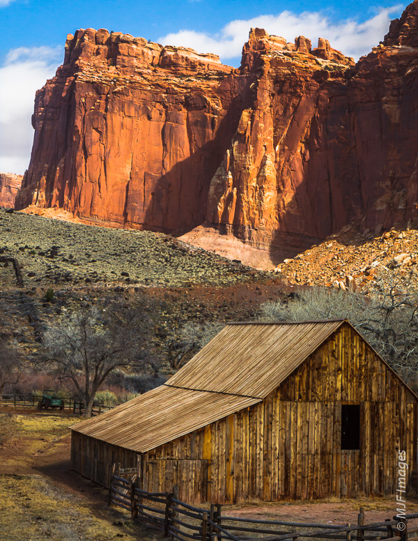 A bit of the old west survives at the old Gifford homestead, now inside Capitol Reef National Park.  42 mm., 1/125 sec. @f/14, ISO 320.