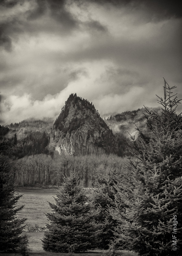 A view across the Columbia River to Beacon Rock, Washington.