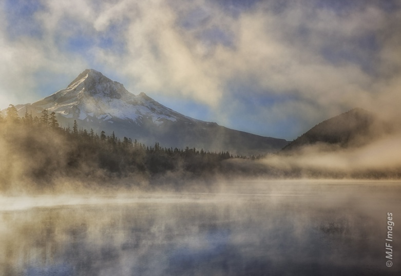 Sunrise at Lost Lake with Mount Hood emerging from the fog.  This is the same scene as last Wednesday's post, the Fog Returns.