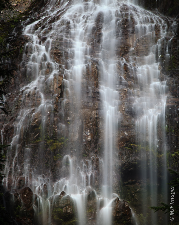 Spray Falls on Rainier's northwest side is a spectacular cascade.