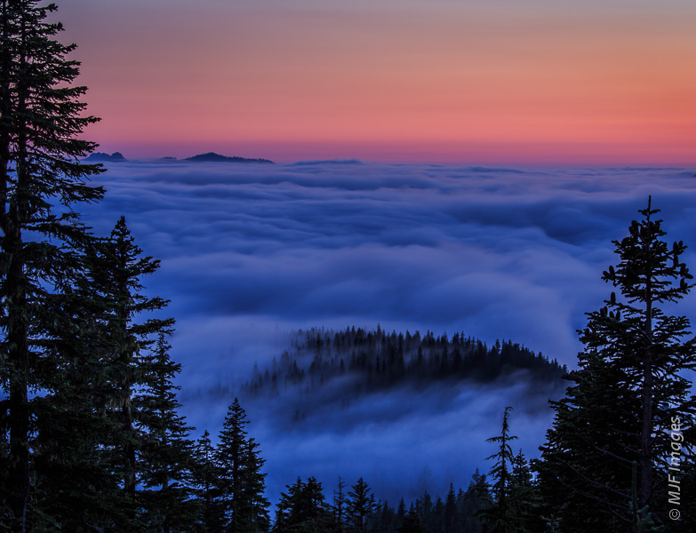 The Nisqually River Valley at Mount Rainier is filled with low clouds at dusk.