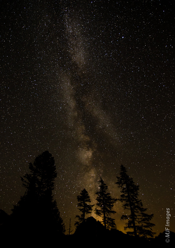 The Milky Way is easily visible from high up on the slopes of Mount Rainier in Washington.