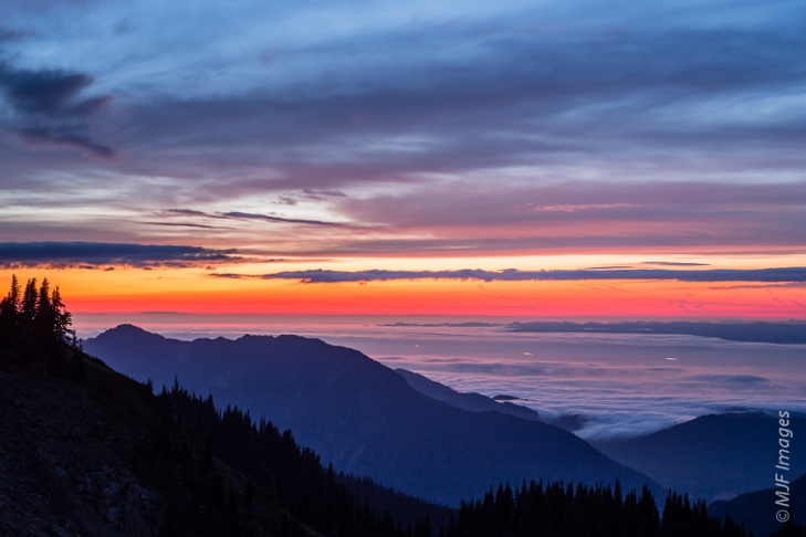 Low clouds cover the entrance to Puget Sound, with the lights of boats.  Viewed from atop Hurricane Ridge in Olympic National Park, Washington.