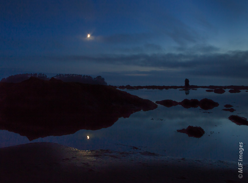 The crescent moon rises over the rugged Olympic Coast at Cape Alava.