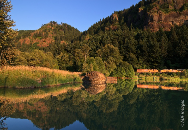 A train runs up the Columbia River Gorge in Oregon.  This is not an image with many tradeoffs.