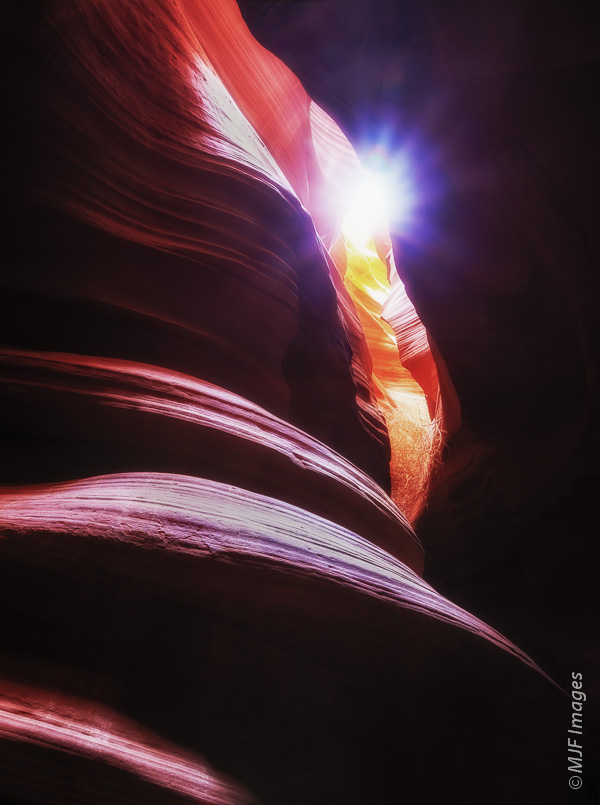 The sun peeks into the narrow confines of Antelope Canyon, Arizona.