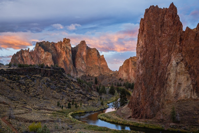 Dawn breaks at Smith Rock State Park in central Oregon.