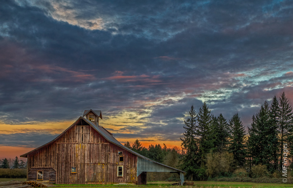 The Willamette Valley.  Though I was not real close to the barn, I shot this at f/11 to keep the background trees in focus and the clouds from going too soft.