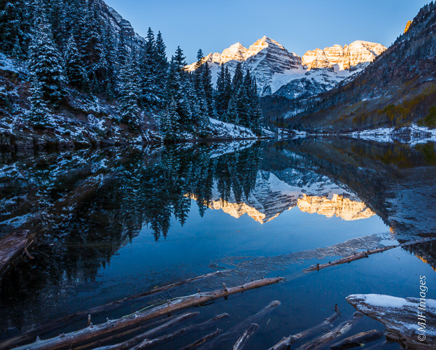 The Maroon Bells stand over the lake of the same name in the Colorado Rockies.