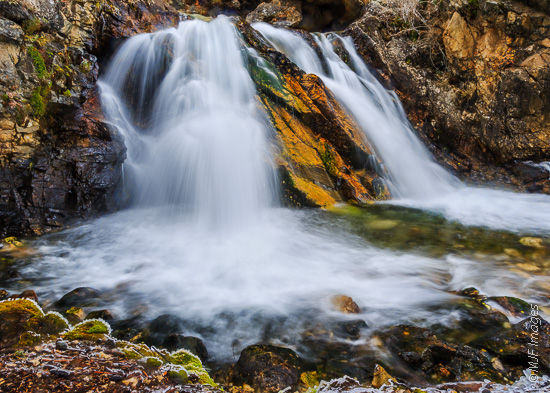 A new image, I shot this small falls on a recent icy morning in the Colorado Rockies.