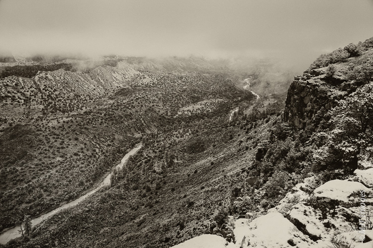 The Rio Grande Gorge near Questa, New Mexico on a snowy morning.