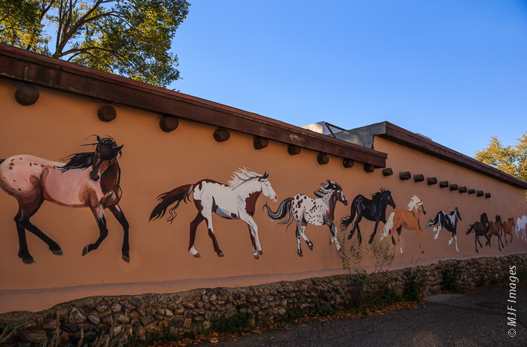 A great mural at the entrance to Ledoux Street in Taos, New Mexico.