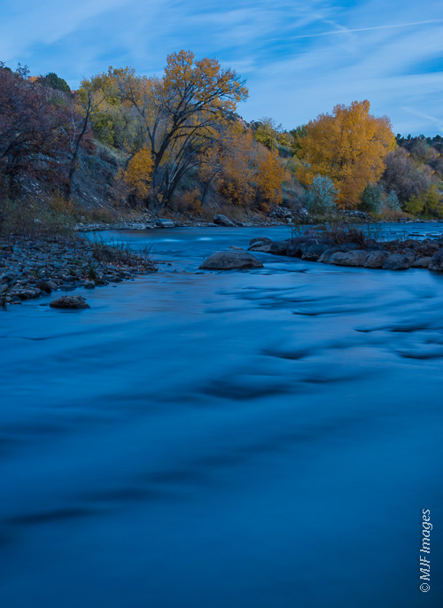 I shot the Animas River as it goes through Durango, Colorado just before dark.