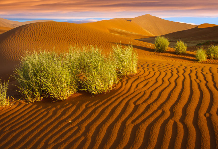 A wide angle allows you to get close and low to interesting foregrounds, like these dunes near Sossusvlei, Namibia.  24 mm., 1/4 sec. @ f/22.