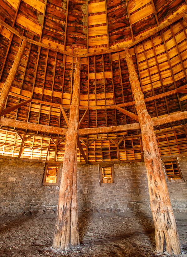 Part of the interior of cattle king Peter French's round barn.