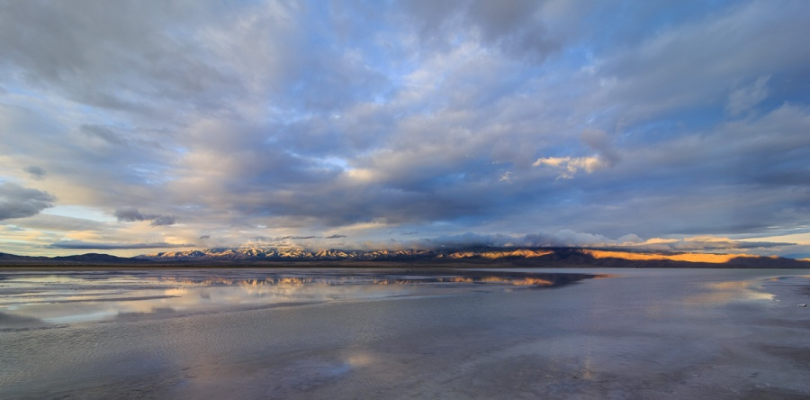An arm of Utah's Great Salt Lake in dawn light.