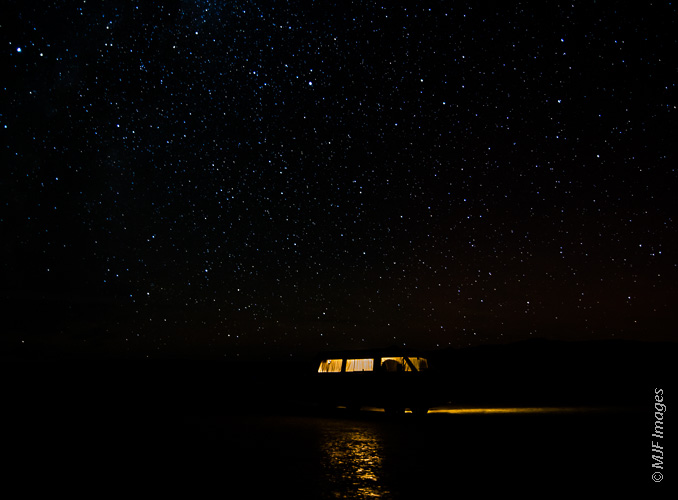 Camped under the stars on the large playa that makes up most of Oregon's Alvord Desert.
