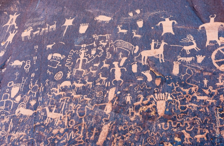 A 50 mm. lens is perfect for capturing this shaded rock art panel, called Newspaper Rock, near Canyonlands N.P.