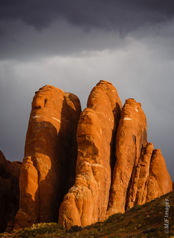 The sandstone fins at Arches National Park are where arches form.