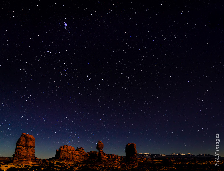 Arches National Park under the winter stars.