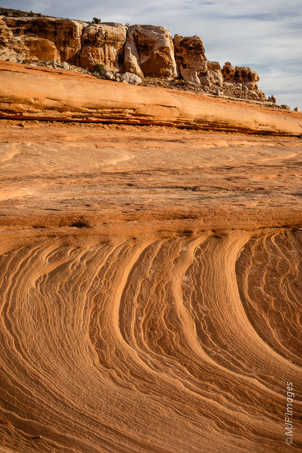 Classic cross-bedded sandstone slickrock in southern Utah.