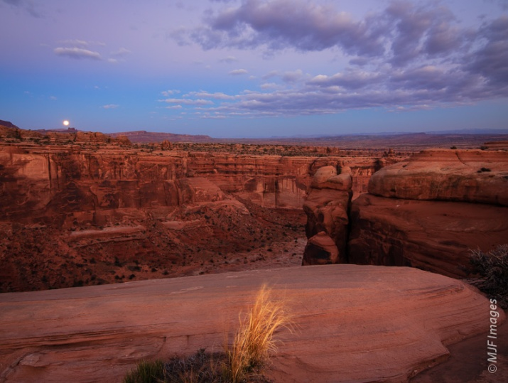 Early pre-dawn shot from atop Courthouse Towers in Arches N.P., Utah.