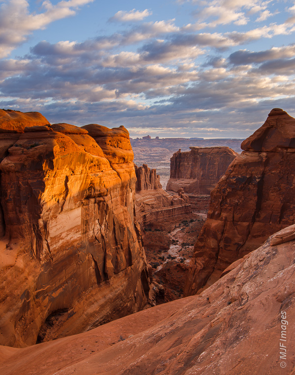 From above, the Courthouse Towers in Arches National Park are awesome at sunrise!