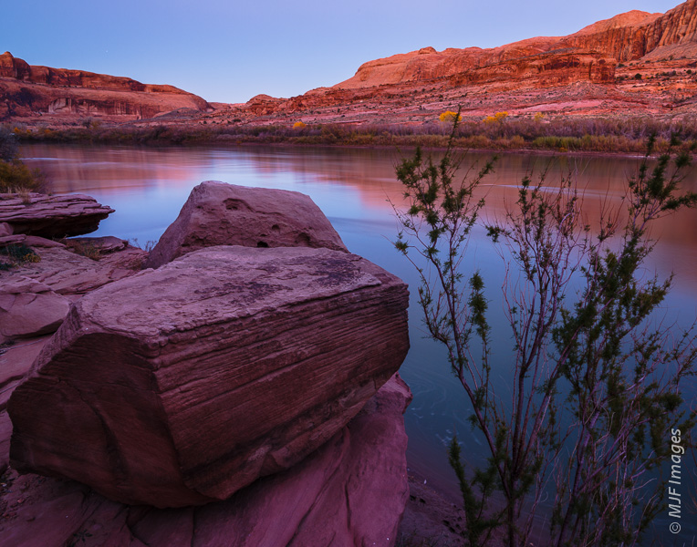Dusk along the Colorado upstream from Corona Arch.