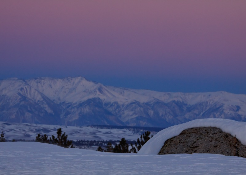 The pastels in this dusk image near Mammoth Lakes, California only appear in winter's frigid and pristine air.