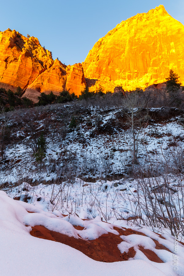 This scene after snowfall in Zion's Kolob Canyons required only 2/3 stop positive exposure compensation.