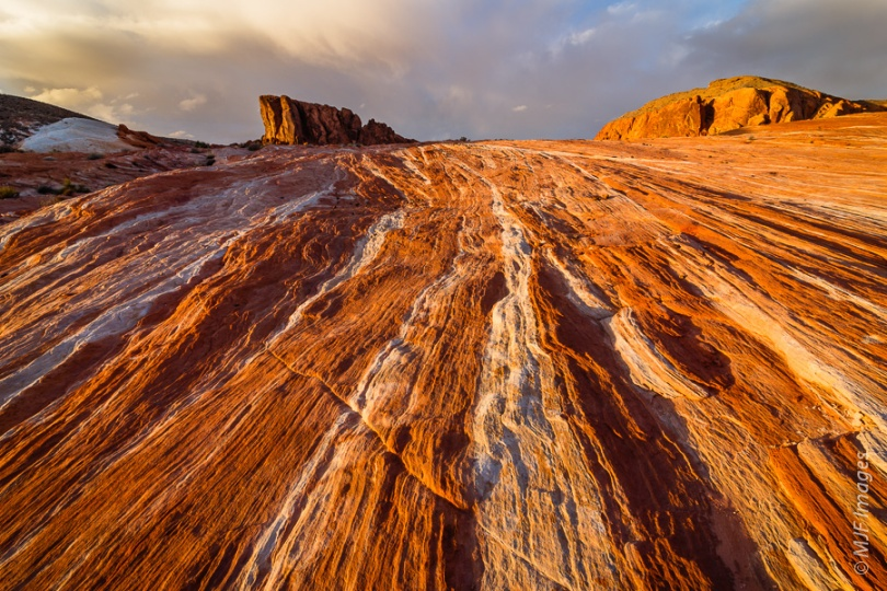 Banded sandstone layers lie on edge at Valley of Fire, Nevada.