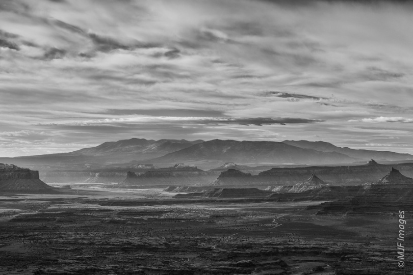 In this view of the Needles District of Canyonlands National Park, Utah, the early morning low sun highlights the spires, buttes and mesas of Indian Creek Canyon.  The Abajo Mountains lie in the distance.