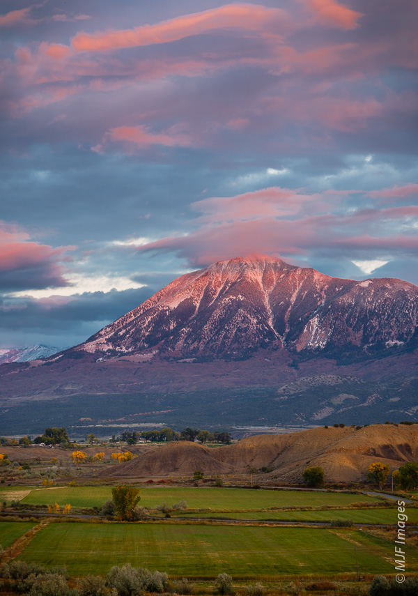 Ranch land nestles up to the western foothills of the Rocky Mountains in Colorado.