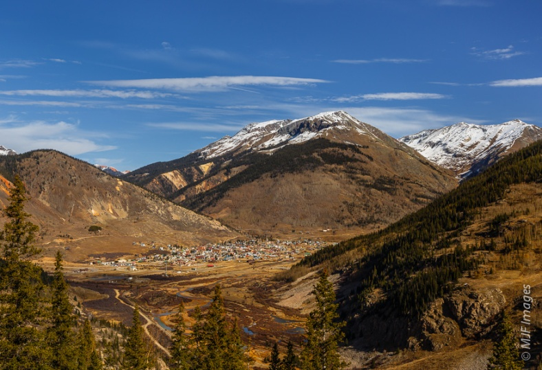 The former mining town of Silverton in the San Juan  Mountains of southwestern Colorado lies nestled in a high valley.